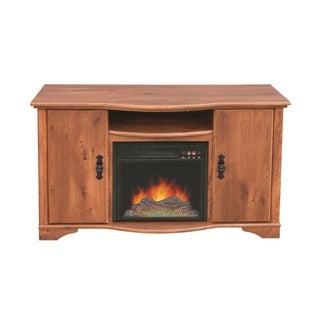 Austin Rustic Pine Media Center Fireplace