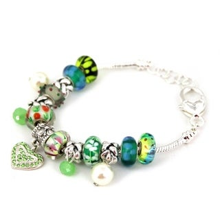 Bleek2Sheek 'Lucky' Silvertone Green-themed European Charm Bracelet