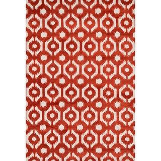Aaron Rust Lattice Microfiber Woven Rug (7'6 x 9'6)