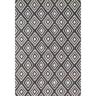 Aaron Grey/ Charcoal Diamond Microfiber Woven Rug (9'3 x 13'0)