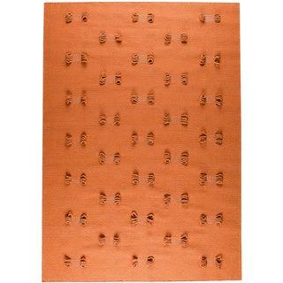 Hand-woven Napo Orange New Zealand Wool Rug (4'6x 6'6)