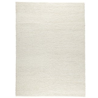 Hand-woven Ladh White New Zealand Wool Rug (4'6x 6'6)