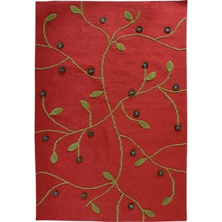 Hand-woven Safe Red New Zealand Wool Rug (4'6x 6'6)