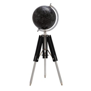 Urban Black Classic 27 Inch Decorative Silver World Globe