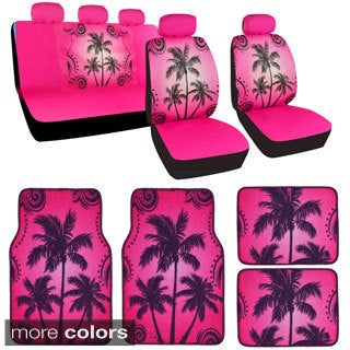 BDK Full Set Palm Tree Car Seat Covers and Floor Mats