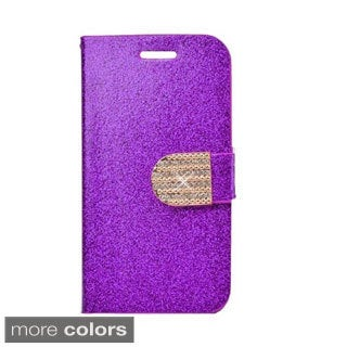 INSTEN Stand Leather Folio Book-Style Flip Phone Case Cover With Diamond For Nokia Lumia 635