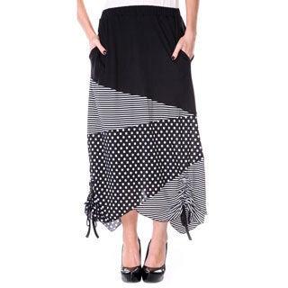 Firmiana Women's Black/ White Polka-dot and Stripe Long Maxi Skirt