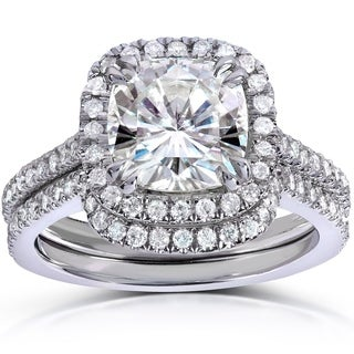 Annello 14k White Gold Cushion-cut Moissanite and 1/2ct TDW Round-cut Diamond Bridal Set (G-H, I1-I2
