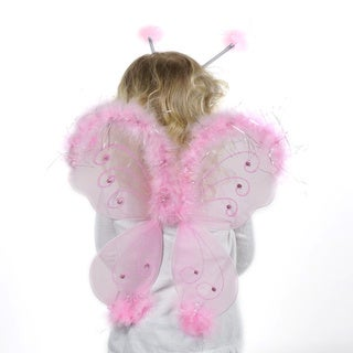 Candy Pink Glitter Feather Wings