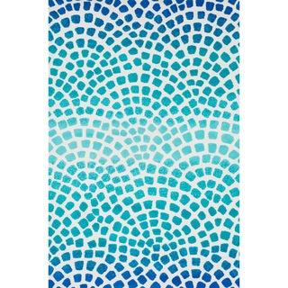 Aaron Aqua/ Blue Mosaic Microfiber Woven Rug (9'3 x 13'0)