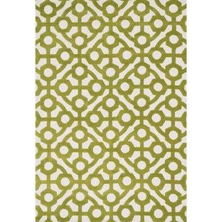 Aaron Green Trellis Microfiber Woven Rug (7'6 x 9'6)