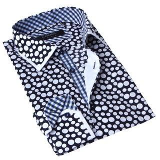 Coogi Luxe Men's Button-up Navy Blue and White Dot Dress Shirt