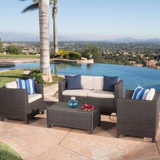 Christopher Knight Home Puerta 4-piece Brown Outdoor Wicker Sofa Set
