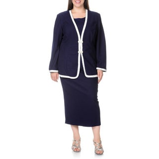 Mia-Knits Collection Women's Plus Size Navy/White 3-piece Skirt Suit