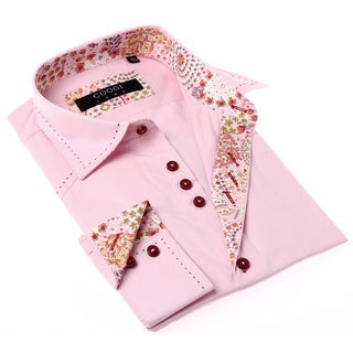 Coogi Luxe Men's Pink and Red Solid Button-up Dress Shirt