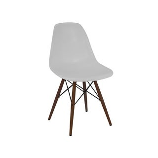 Mid-century Platinum Side Chair with Walnut Wood Base (Set of 5)
