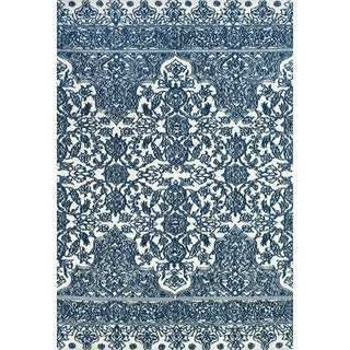 "Grand Bazaar Power Loomed Polyester Pia Rug in Indigo / White 3'-6"" x 5'-6"""