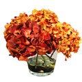 Hydrangea Blossoms In 10-inch Glass Vase