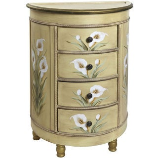 Antique Accessory Table with Calla Lily Floral Art