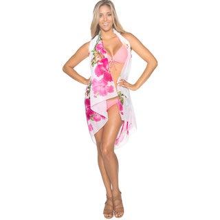 La Leela Women's Floral Print Pink/ White Sarong Cover-up