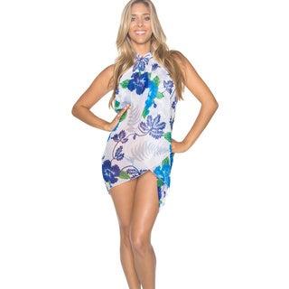 La Leela White and Blue Floral Print Chiffon Sarong