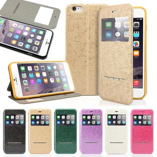 Gearonic View Window Flip Case for Apple 5.5-inch iPhone 6 Plus with Answer Function