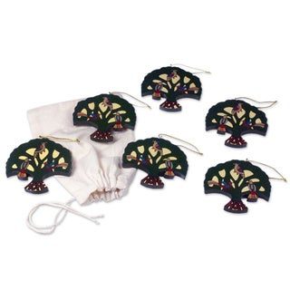 Set of 6 Hand-crafted Pinewood 'Tree of Hope' Ornaments (El Salvador)