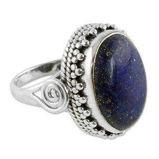 Sterling Silver 'Majestic Blue' Lapis Lazuli Ring (India)
