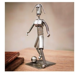 Handcrafted Recycled Metal 'Soccer Pro' Sculpture (Peru)