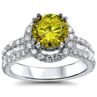 Noori 18k White Gold 2 1/5ct UGL-certified Round Canary Yellow Diamond Engagement Ring (VS2/SI1)
