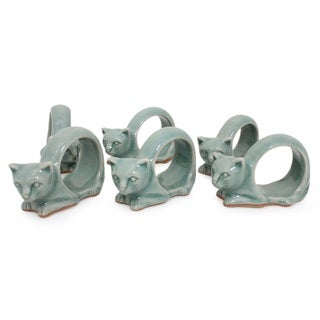 Set of 6 Celadon Ceramic 'Siamese Cat' Napkin Rings (Thailand)