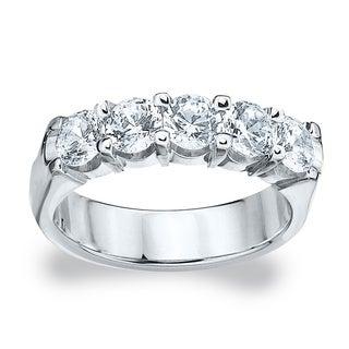 Amore Platinum 2ct TDW Five Stone Round Diamond Wedding Band (G-H, SI1-SI2)