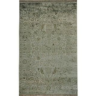 Hand-knotted Bamboo Silk Light Green Oriental Wool Rug (6' x 9'4)
