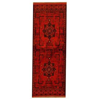 Herat Oriental Afghan Hand-knotted Tribal Khal Mohammadi Red/ Black Wool Rug (1'9 x 4'9)