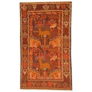Herat Oriental Afghan Hand-knotted Tribal Semi-antique Balouchi Blue/ Navy Wool Rug (3'9 x 6'6)
