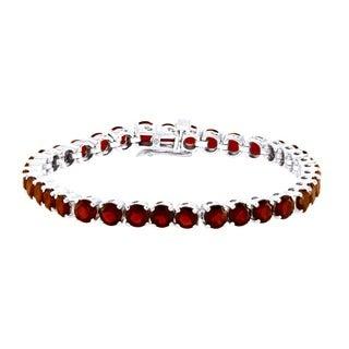 Beverly Hills Charm Sterling Silver Garnet Monte Carlo Tennis Bracelet