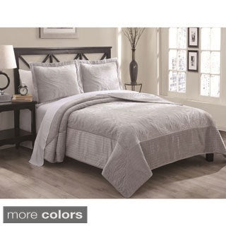 Biltmore 3 -piece Velvet Embroidered Quilt Set