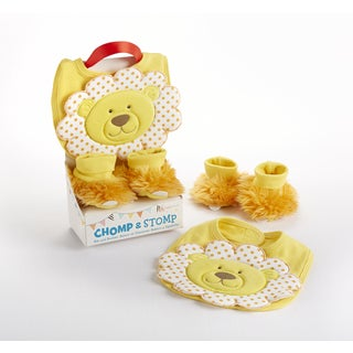 Baby Aspen Chomp & Stomp Lion Bib and Booties Gift Set