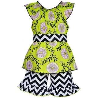 AnnLoren Boutique Girls' Rose Vine and Chevron Tunic with Shorts