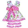 AnnLoren Boutique Girls' Pink/ Green Circle Halter Top with Capris