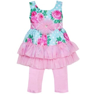AnnLoren Boutique Girls' Rosa Dot and Tulle Tunic with Capris