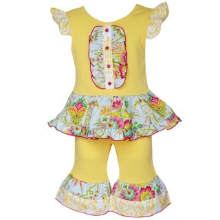 AnnLoren Boutique Girls' Yellow Floral Ruffle Tunic with Capris