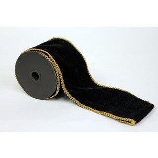 Sage & Co 4-inch Gold Trim Velvet Ribbon, 5 Yards