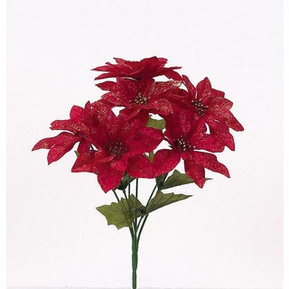 Sage & Co 13-inch Glittered Poinsettia Christmas Bush, Assortment of 3 (Pack of 24)