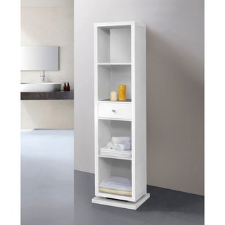Artiva USA Bella 71-Inches White Full-length Mirror and Shelving Unit Deluxe Swivel Cabinet