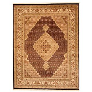 Herat Oriental Indo Hand-knotted Tabriz Black/ Ivory Wool and Silk Rug (6'5 x 8'6)