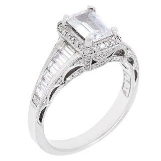 Tacori Platinum 1ct TDW Diamond and Cubic Zirconia Engagement Ring (G-H, VS1-VS2)