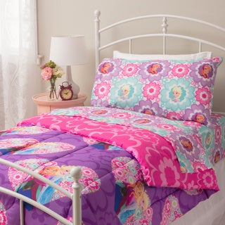 Disney Frozen Floral Twin 4-Piece Bed in a Bag Set