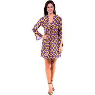 24/7 Comfort Apparel Purple and Yellow Relaxed Fit Dress