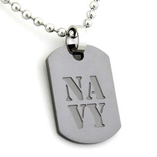US Navy Dog Tag Gunmetal Necklace